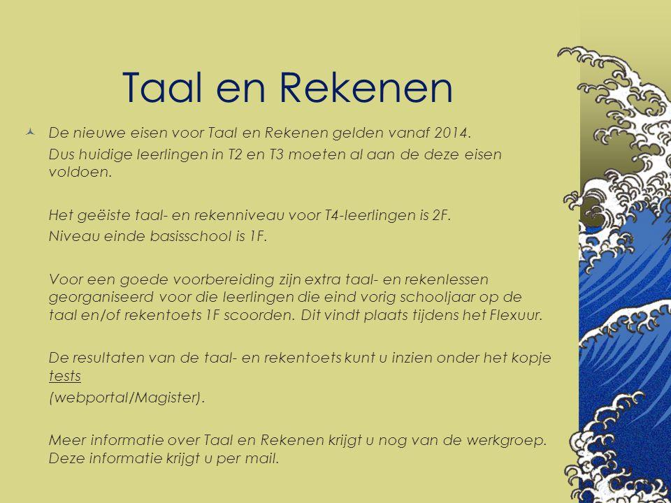 Taal en Rekenen De nieuwe eisen voor Taal en Rekenen gelden vanaf 2014. Dus huidige leerlingen in T2 en T3 moeten al aan de deze eisen voldoen. Het ge