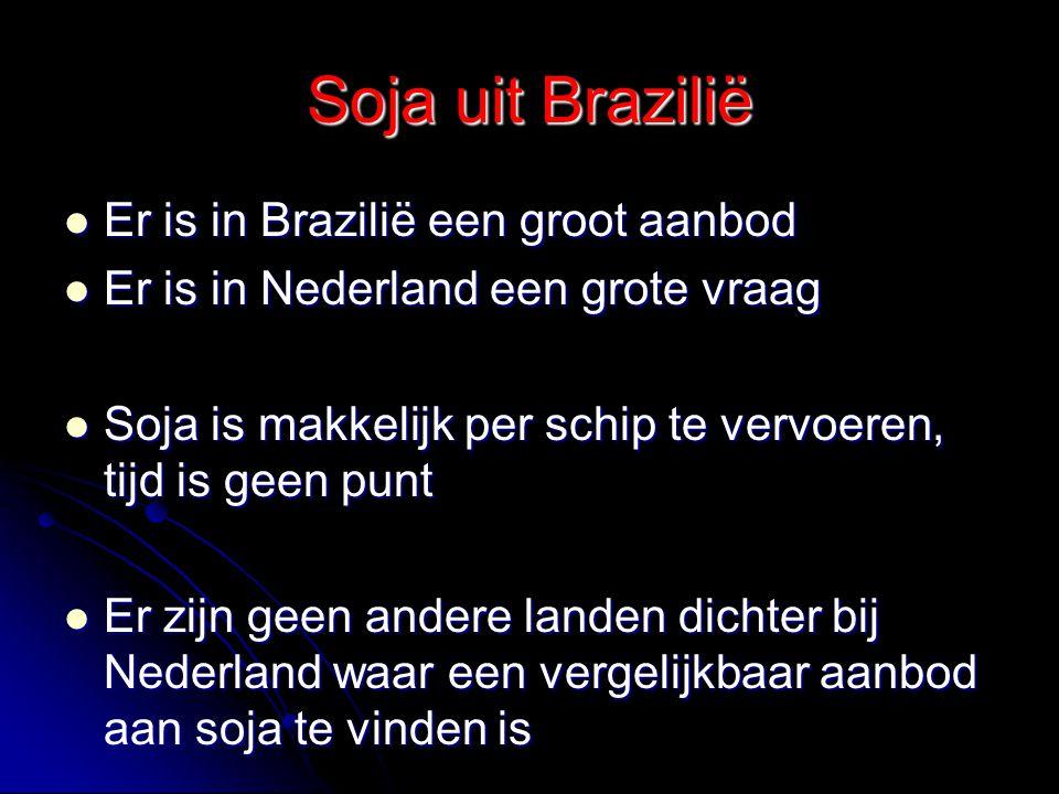 Soja uit Brazilië Er is in Brazilië een groot aanbod Er is in Brazilië een groot aanbod Er is in Nederland een grote vraag Er is in Nederland een grot