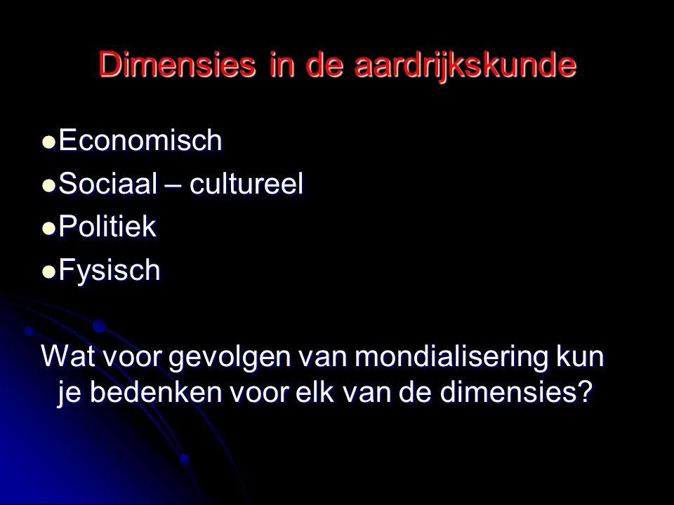 Dimensies in de aardrijkskunde Economisch Economisch Sociaal – cultureel Sociaal – cultureel Politiek Politiek Fysisch Fysisch Wat voor gevolgen van m
