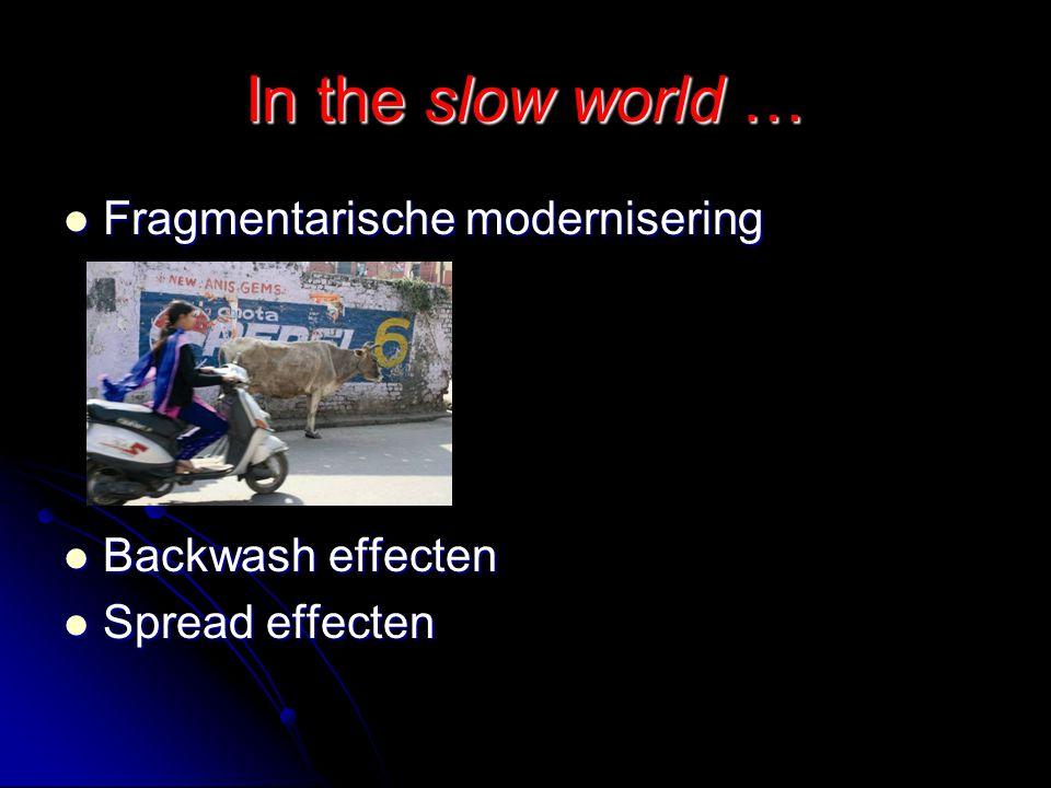 In the slow world … Fragmentarische modernisering Fragmentarische modernisering Backwash effecten Backwash effecten Spread effecten Spread effecten