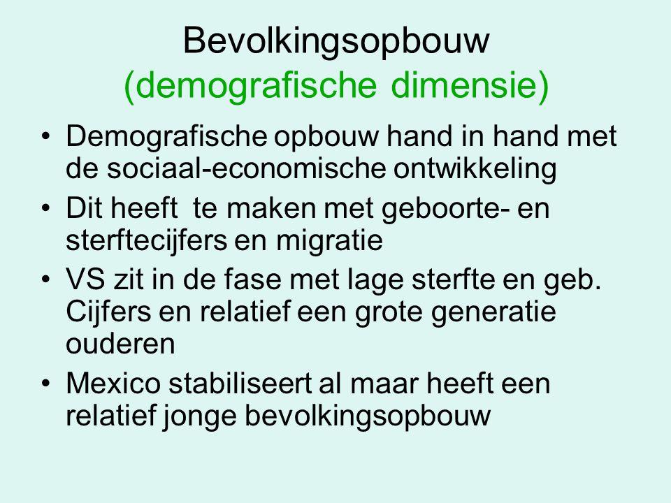 Bevolkingsopbouw (demografische dimensie) Demografische opbouw hand in hand met de sociaal-economische ontwikkeling Dit heeft te maken met geboorte- e