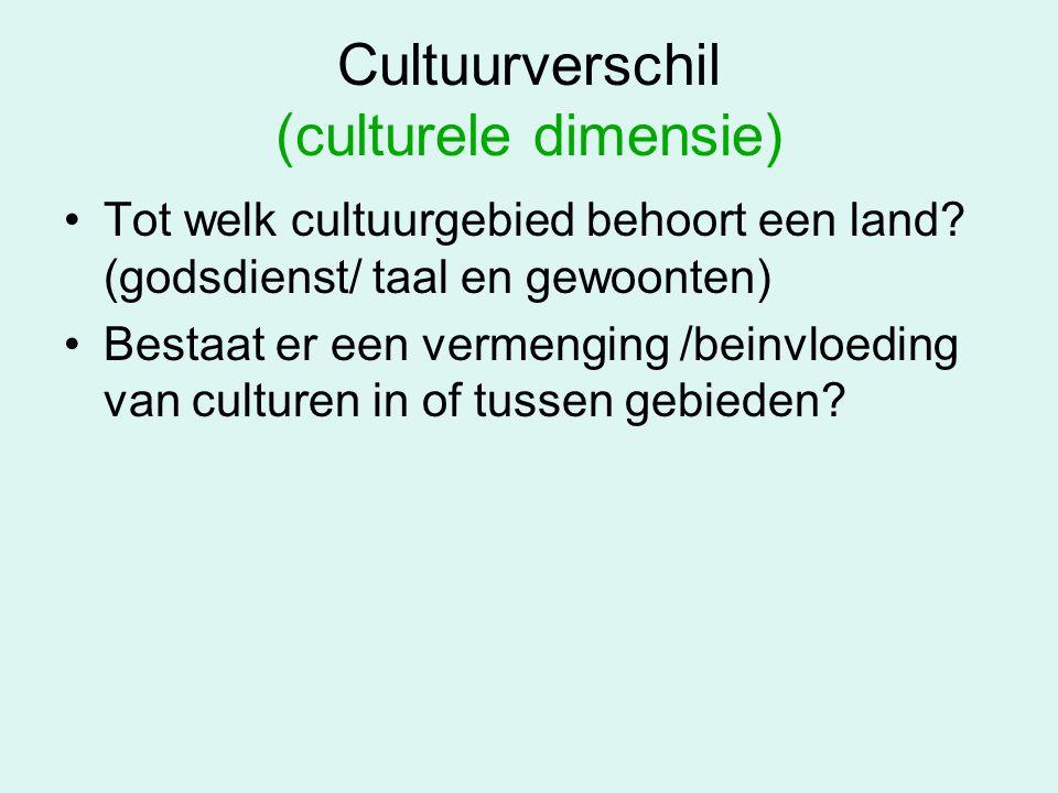 Cultuurverschil (culturele dimensie) Tot welk cultuurgebied behoort een land? (godsdienst/ taal en gewoonten) Bestaat er een vermenging /beinvloeding