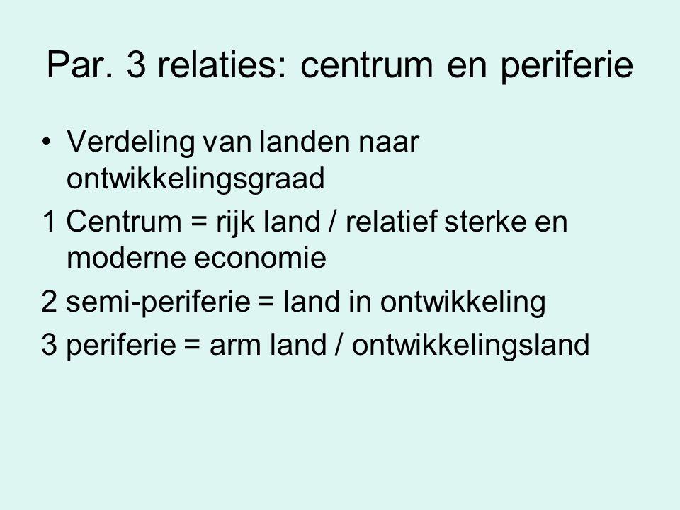 Par. 3 relaties: centrum en periferie Verdeling van landen naar ontwikkelingsgraad 1 Centrum = rijk land / relatief sterke en moderne economie 2 semi-