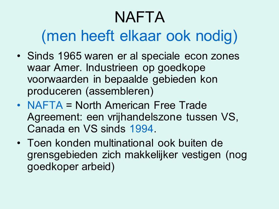 NAFTA (men heeft elkaar ook nodig) Sinds 1965 waren er al speciale econ zones waar Amer. Industrieen op goedkope voorwaarden in bepaalde gebieden kon