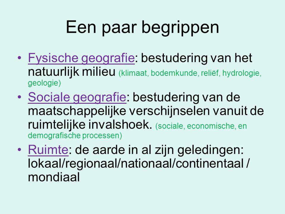 Een paar begrippen Fysische geografie: bestudering van het natuurlijk milieu (klimaat, bodemkunde, reliëf, hydrologie, geologie) Sociale geografie: be