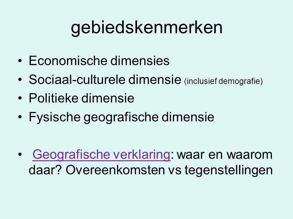 gebiedskenmerken Economische dimensies Sociaal-culturele dimensie (inclusief demografie) Politieke dimensie Fysische geografische dimensie Geografisch