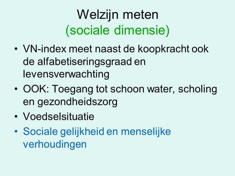 Welzijn meten (sociale dimensie) VN-index meet naast de koopkracht ook de alfabetiseringsgraad en levensverwachting OOK: Toegang tot schoon water, sch