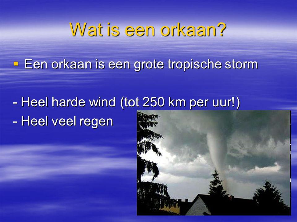 Wat is een orkaan?  Een orkaan is een grote tropische storm - Heel harde wind (tot 250 km per uur!) - Heel veel regen