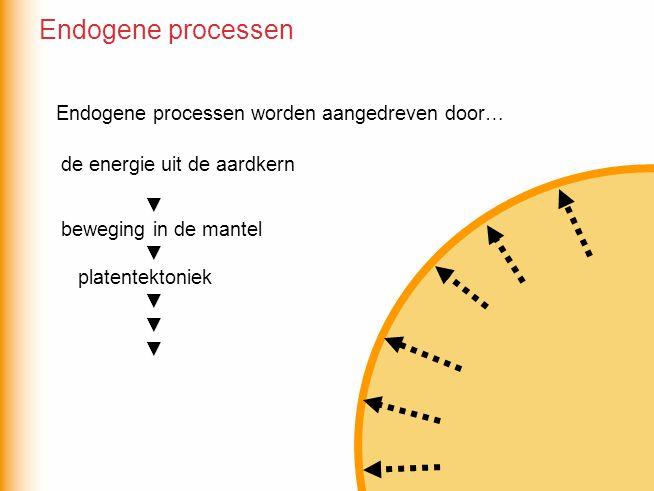 Endogene processen worden aangedreven door… ▼ beweging in de mantel ▼ platentektoniek ▼ de energie uit de aardkern Endogene processen