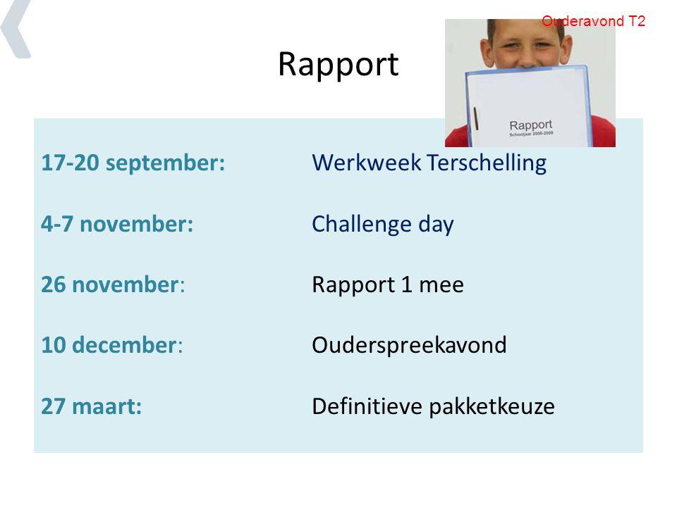 Rapport 17-20 september:Werkweek Terschelling 4-7 november:Challenge day 26 november: Rapport 1 mee 10 december: Ouderspreekavond 27 maart:Definitieve pakketkeuze Ouderavond T2