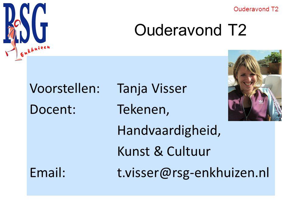 Ouderavond T2 Voorstellen: Tanja Visser Docent: Tekenen, Handvaardigheid, Kunst & Cultuur Email: t.visser@rsg-enkhuizen.nl Ouderavond T2