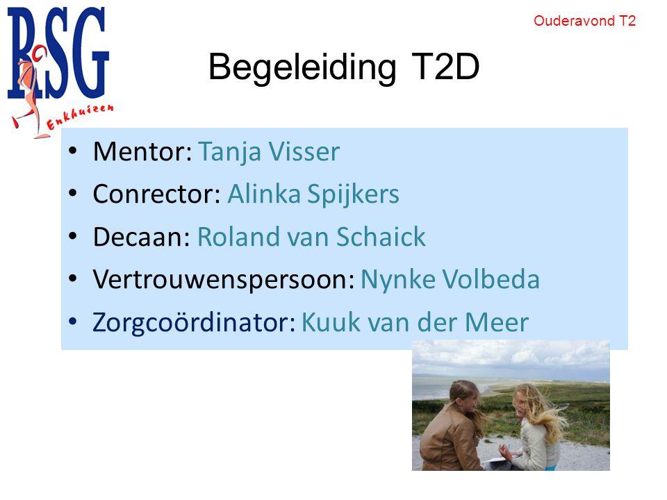 Begeleiding T2D Mentor: Tanja Visser Conrector: Alinka Spijkers Decaan: Roland van Schaick Vertrouwenspersoon: Nynke Volbeda Zorgcoördinator: Kuuk van der Meer Ouderavond T2