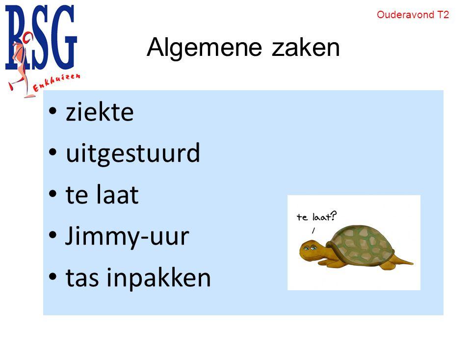 Algemene zaken ziekte uitgestuurd te laat Jimmy-uur tas inpakken Ouderavond T2