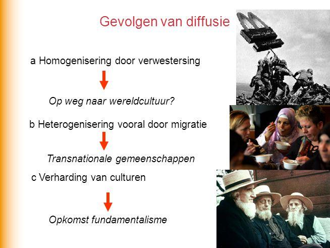 Gevolgen van diffusie a Homogenisering door verwestersing Op weg naar wereldcultuur? b Heterogenisering vooral door migratie Transnationale gemeenscha