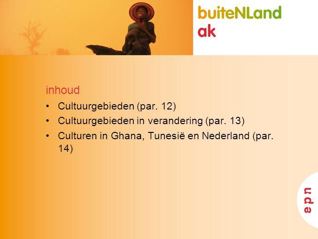inhoud Cultuurgebieden (par. 12) Cultuurgebieden in verandering (par. 13) Culturen in Ghana, Tunesië en Nederland (par. 14)