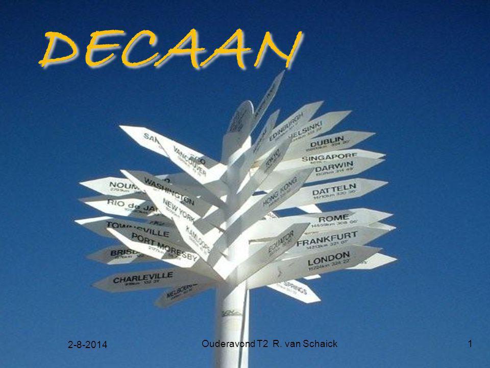 2-8-2014 Ouderavond T2 R. van Schaick1 DECAAN DECAAN