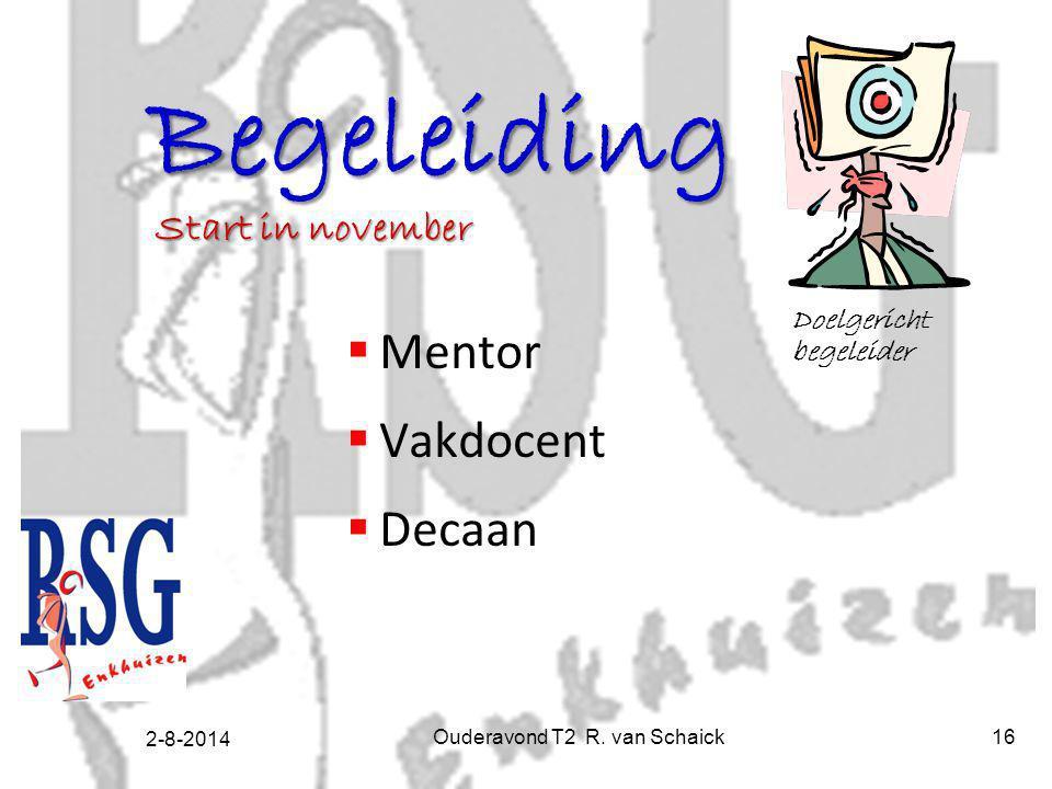 2-8-2014 Ouderavond T2 R. van Schaick16 Begeleiding  Mentor  Vakdocent  Decaan Doelgericht begeleider Start in november