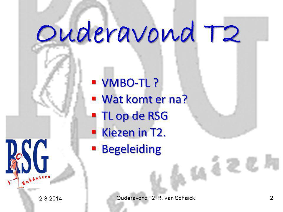 2-8-2014 Ouderavond T2 R. van Schaick2 Ouderavond T2  VMBO-TL ?  Wat komt er na?  TL op de RSG  Kiezen in T2.  Begeleiding