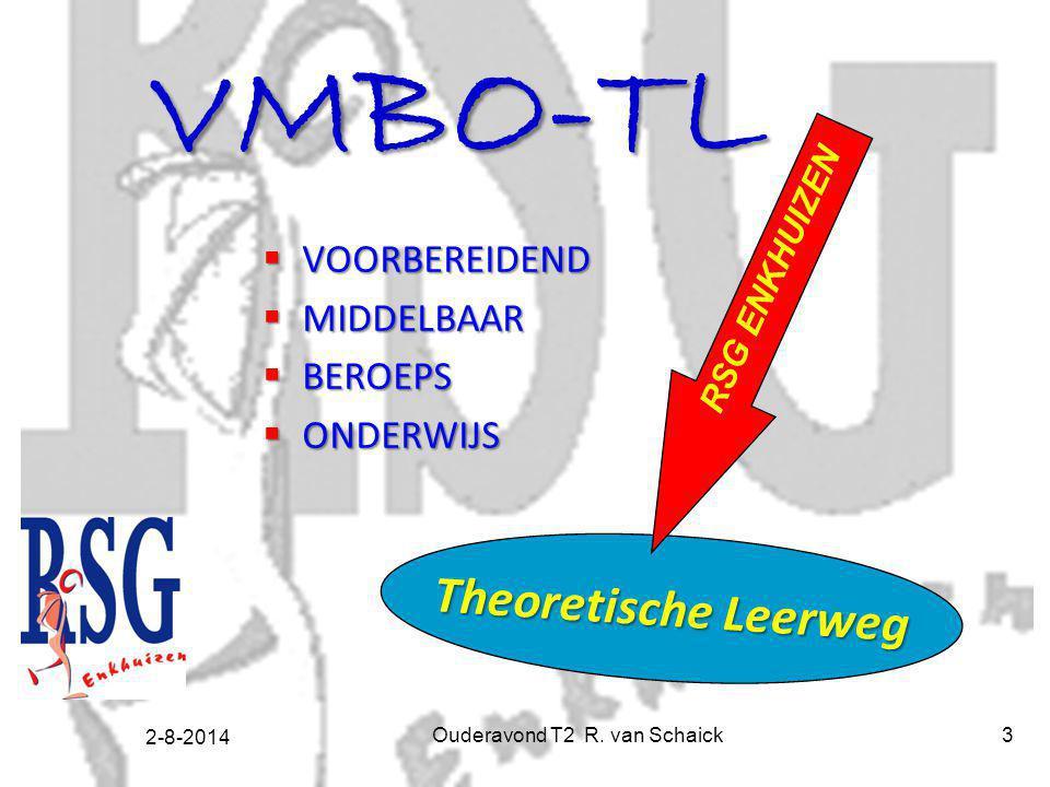2-8-2014 Ouderavond T2 R. van Schaick3 VMBO-TL  VOORBEREIDEND  MIDDELBAAR  BEROEPS  ONDERWIJS Theoretische Leerweg RSG ENKHUIZEN