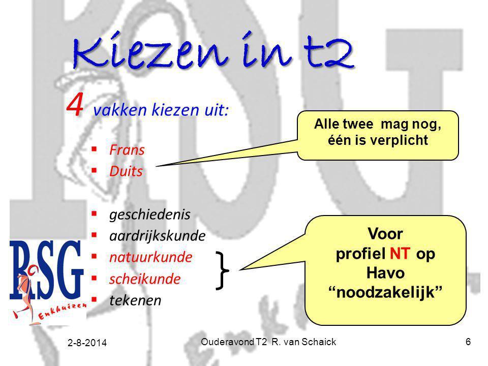 2-8-2014 Ouderavond T2 R. van Schaick6 Kiezen in t2 4 vakken kiezen uit:  Frans  Duits  geschiedenis  aardrijkskunde  natuurkunde  scheikunde 