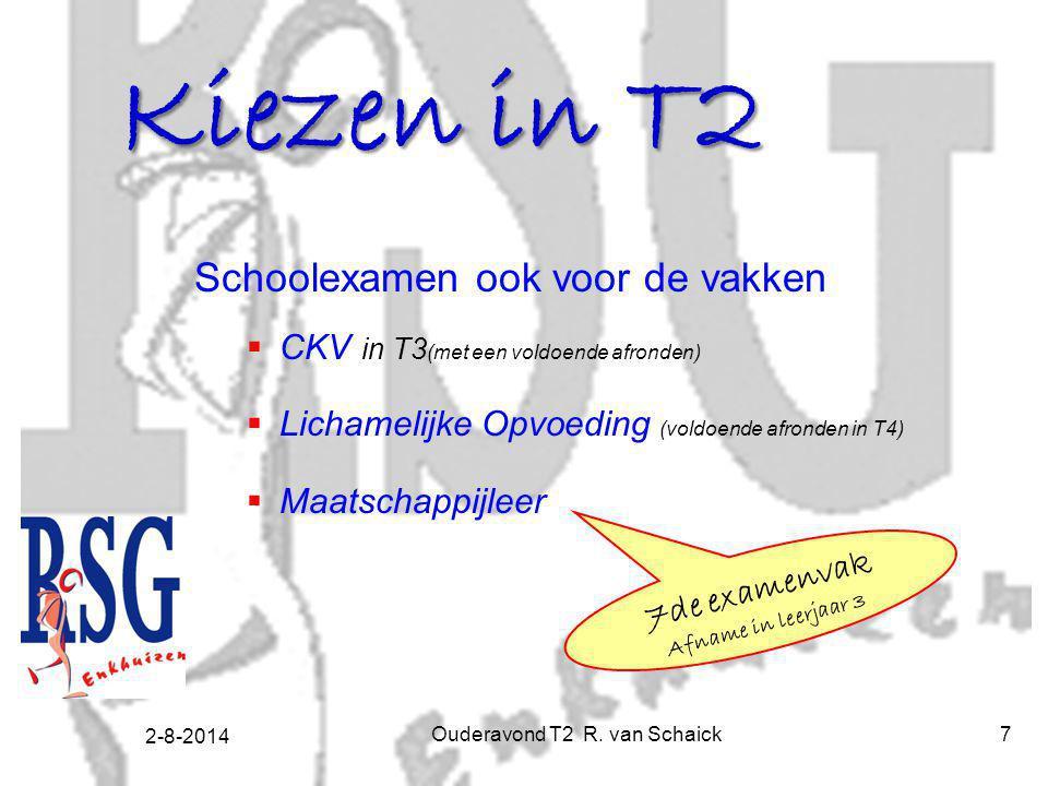 2-8-2014 Ouderavond T2 R. van Schaick7 Schoolexamen ook voor de vakken  CKV in T3 (met een voldoende afronden)  Lichamelijke Opvoeding (voldoende af