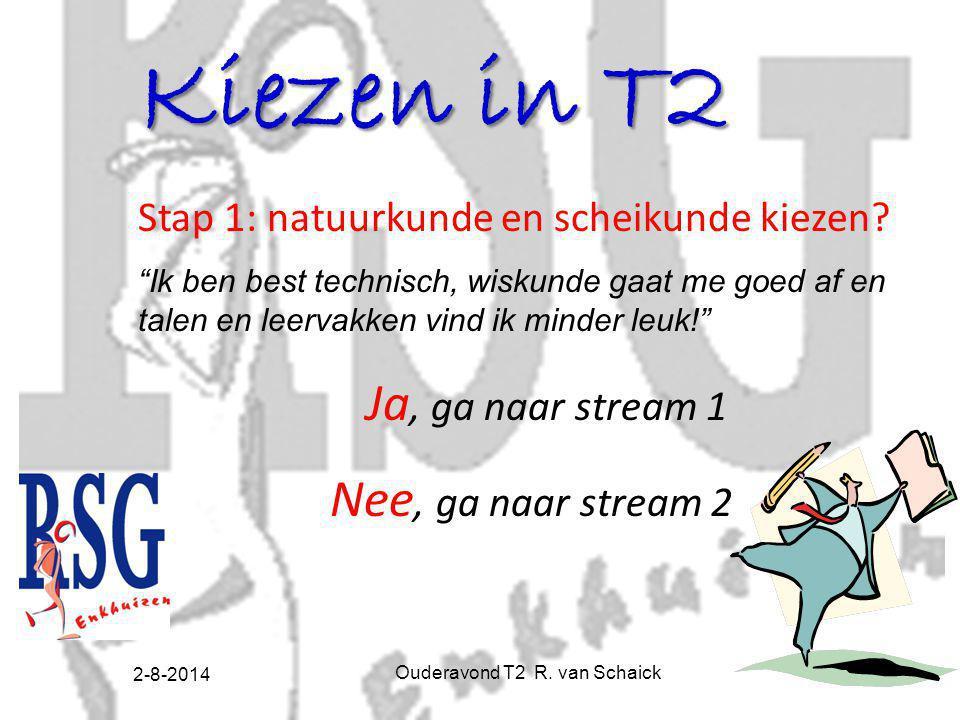 2-8-2014 Ouderavond T2 R. van Schaick8 Kiezen in T2 Stap 1: natuurkunde en scheikunde kiezen.