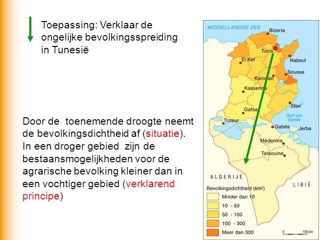 Toepassing: Verklaar de ongelijke bevolkingsspreiding in Tunesië Door de toenemende droogte neemt de bevolkingsdichtheid af (situatie).