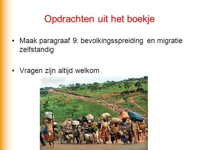 Opdrachten uit het boekje Maak paragraaf 9: bevolkingsspreiding en migratie zelfstandig Vragen zijn altijd welkom