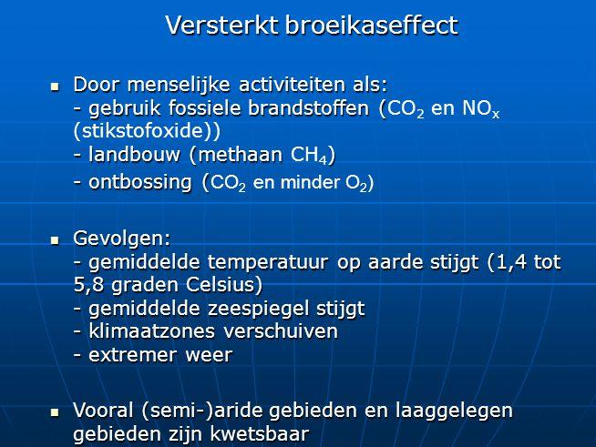 Versterkt broeikaseffect Door menselijke activiteiten als: - gebruik fossiele brandstoffen ( - landbouw (methaan ) Door menselijke activiteiten als: -