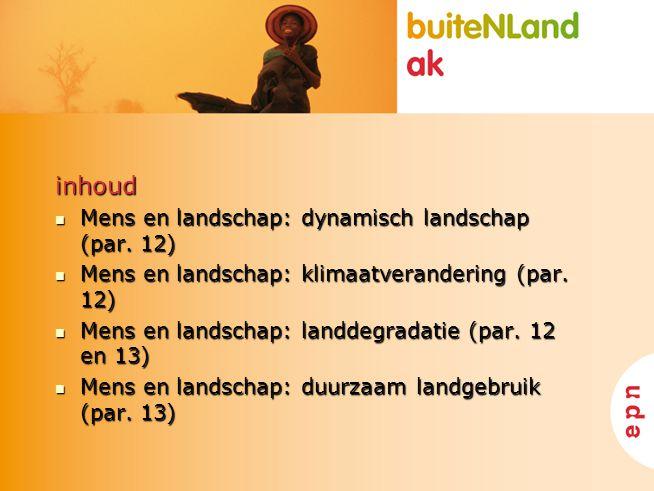 inhoud Mens en landschap: dynamisch landschap (par. 12) Mens en landschap: dynamisch landschap (par. 12) Mens en landschap: klimaatverandering (par. 1