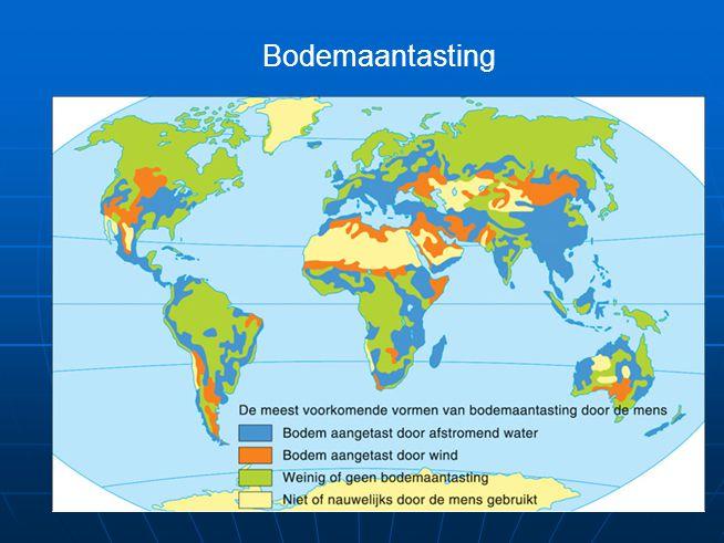 Landdegradatie Aantasting van kwaliteit van landschap door processen als Aantasting van kwaliteit van landschap door processen als versterkte bodemerosie,versterkte bodemerosie, verziltingverzilting verdrogingverdroging verwoestijningverwoestijning Oorzaak: grote bevolkingsdruk Invloed mens: overbeweiding,overbeweiding, uitputting van de bodemuitputting van de bodem Gevolg: kale (nutteloze) bodems