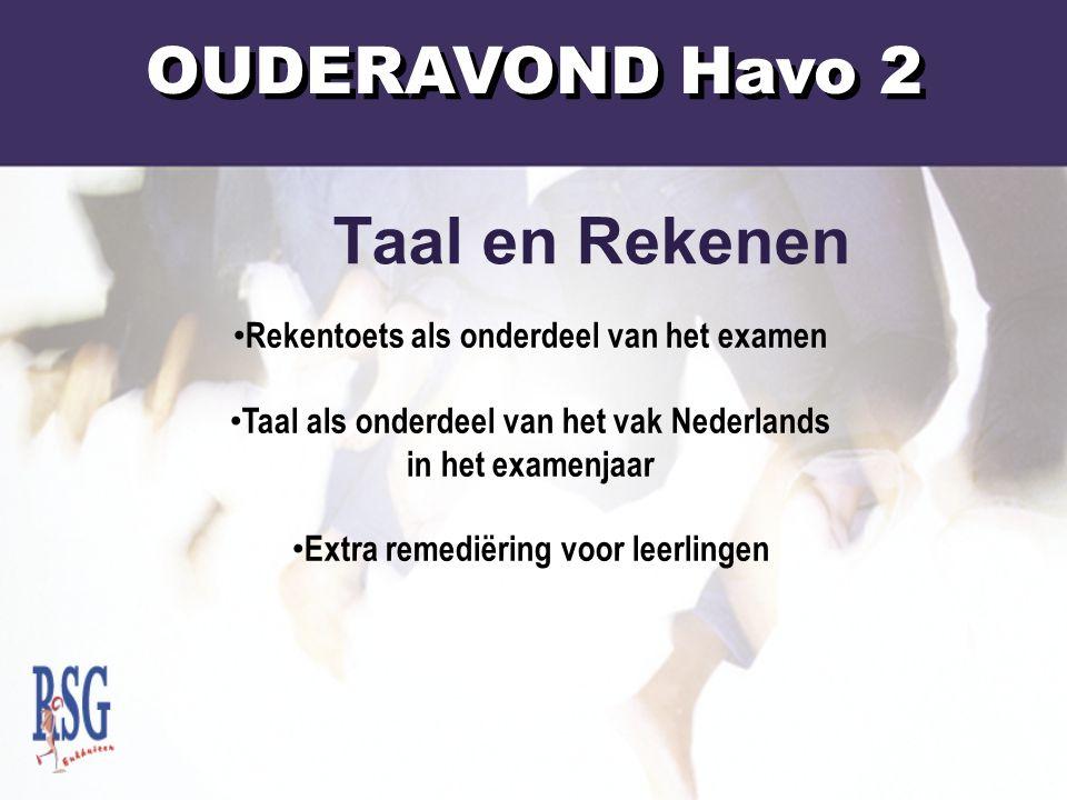OUDERAVOND Havo 2 Rekentoets als onderdeel van het examen Taal als onderdeel van het vak Nederlands in het examenjaar Extra remediëring voor leerlingen