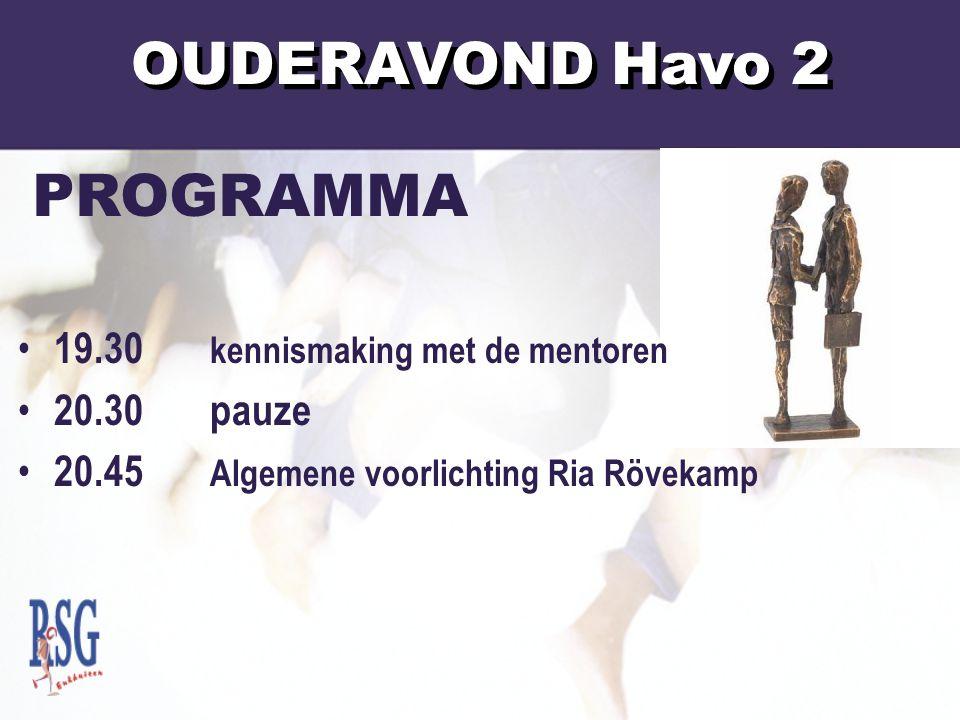PROGRAMMA 19.30 kennismaking met de mentoren 20.30pauze 20.45 Algemene voorlichting Ria Rövekamp OUDERAVOND Havo 2