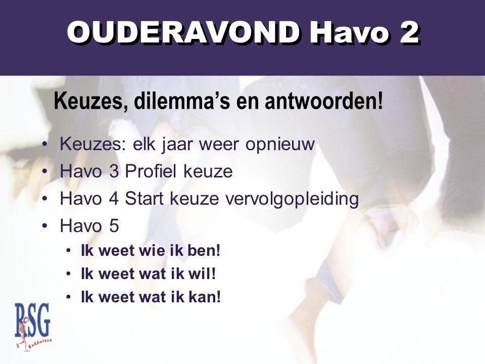 Keuzes: elk jaar weer opnieuw Havo 3 Profiel keuze Havo 4 Start keuze vervolgopleiding Havo 5 Ik weet wie ik ben.