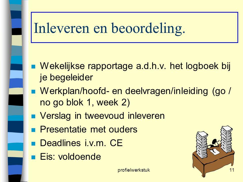 profielwerkstuk11 Inleveren en beoordeling. n Wekelijkse rapportage a.d.h.v. het logboek bij je begeleider n Werkplan/hoofd- en deelvragen/inleiding (