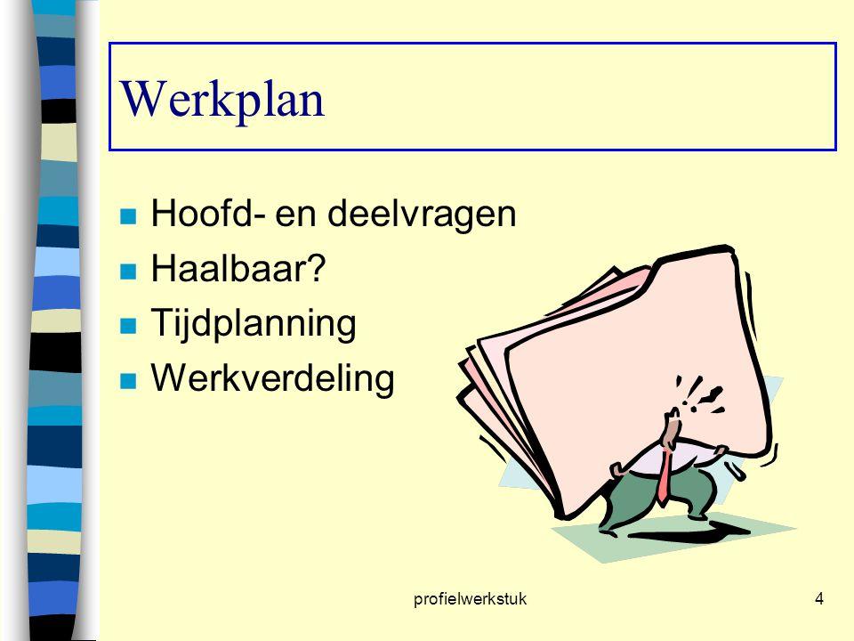 profielwerkstuk4 n Hoofd- en deelvragen n Haalbaar? n Tijdplanning n Werkverdeling Werkplan