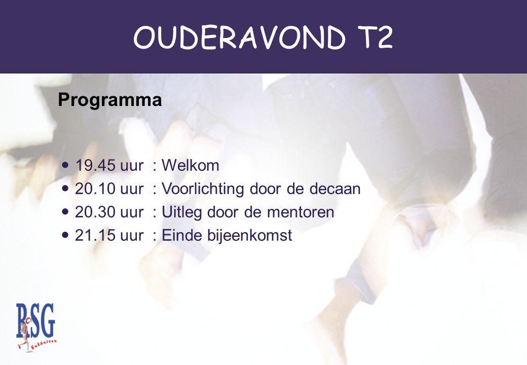 OUDERAVOND T2 19.45 uur : Welkom 20.10 uur : Voorlichting door de decaan 20.30 uur : Uitleg door de mentoren 21.15 uur : Einde bijeenkomst Programma