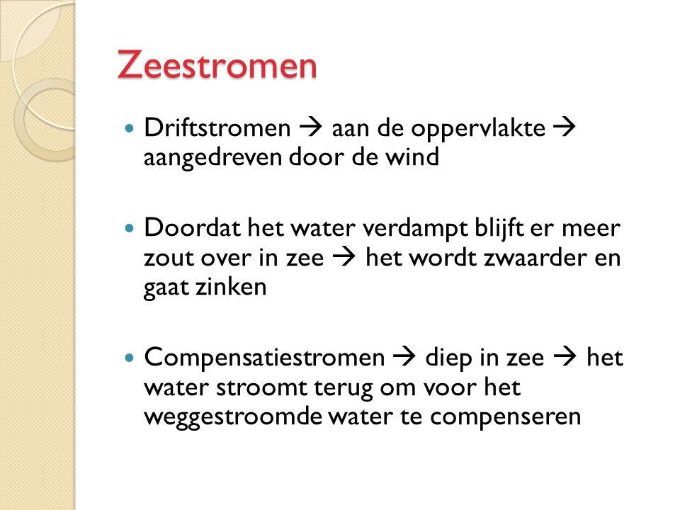 Zeestromen Driftstromen  aan de oppervlakte  aangedreven door de wind Doordat het water verdampt blijft er meer zout over in zee  het wordt zwaarde