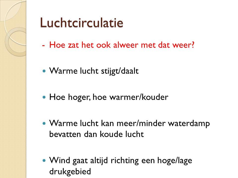 Luchtcirculatie -Hoe zat het ook alweer met dat weer? Warme lucht stijgt/daalt Hoe hoger, hoe warmer/kouder Warme lucht kan meer/minder waterdamp beva