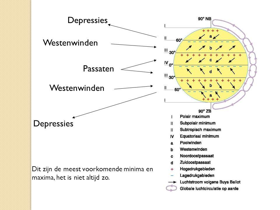 Westenwinden Passaten Depressies Dit zijn de meest voorkomende minima en maxima, het is niet altijd zo.