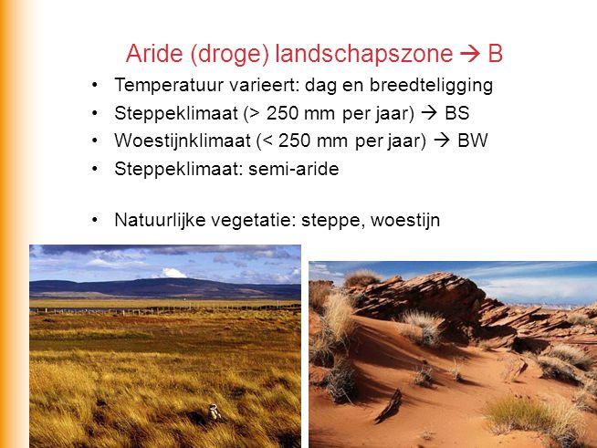 Aride (droge) landschapszone  B Temperatuur varieert: dag en breedteligging Steppeklimaat (> 250 mm per jaar)  BS Woestijnklimaat (< 250 mm per jaar