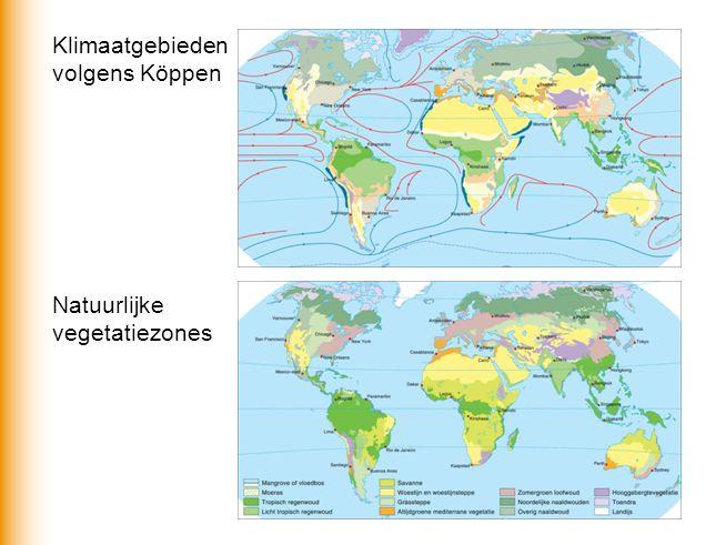 Landschapszones = fysisch-geografische zones Door bepaald klimaat is er een bepaalde natuurlijke vegetatie Onder invloed van: -geografische breedteligging, reliëf en bodem, afstand tot de zee