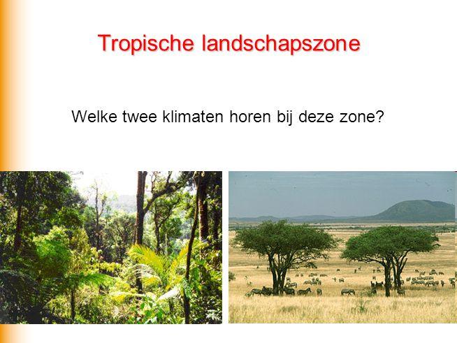 Tropische landschapszone  A Hele jaar > 18 graden Celsius Neerslag: hele jaar door of moesson Tropisch regenwoudklimaat (Af of Am) en savanneklimaat (As of Aw) Natuurlijke vegetatie: tropisch regenwoud, mangrovebos, savanne