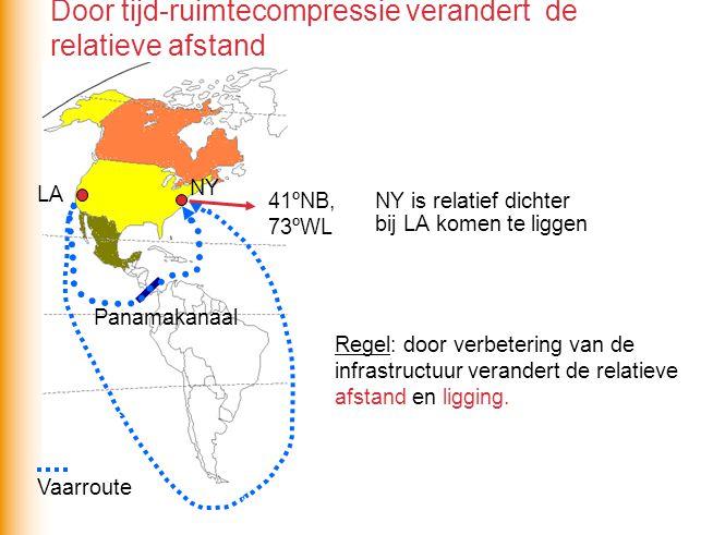 Globalisering beïnvloedt relatieve ligging van gebied B Waarom verbetert de relatieve ligging van gebied B.
