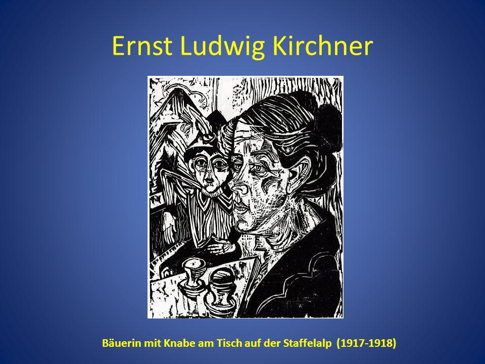 Ernst Ludwig Kirchner Bäuerin mit Knabe am Tisch auf der Staffelalp (1917-1918)