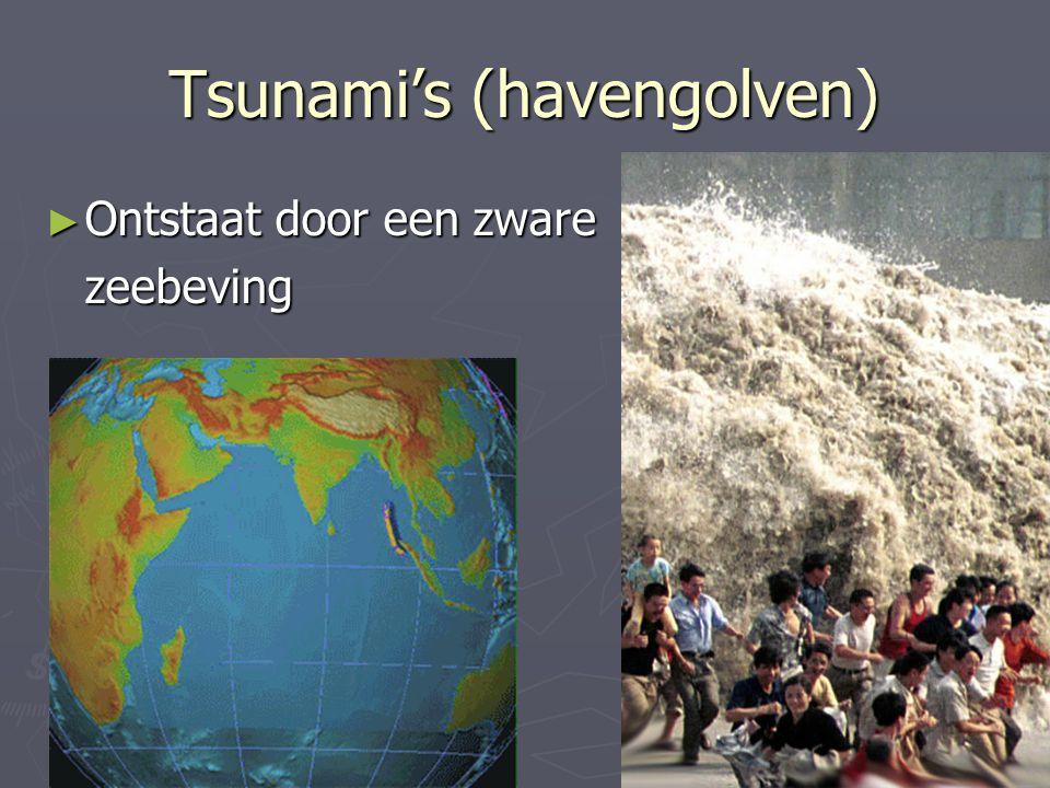 Tsunami's (havengolven) ► Ontstaat door een zware zeebeving