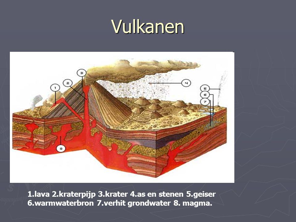 Vulkanen 1.lava 2.kraterpijp 3.krater 4.as en stenen 5.geiser 6.warmwaterbron 7.verhit grondwater 8. magma.