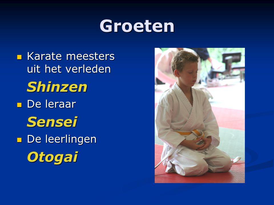 Groeten Karate meesters uit het verleden Karate meesters uit het verledenShinzen De leraar De leraarSensei De leerlingen De leerlingenOtogai