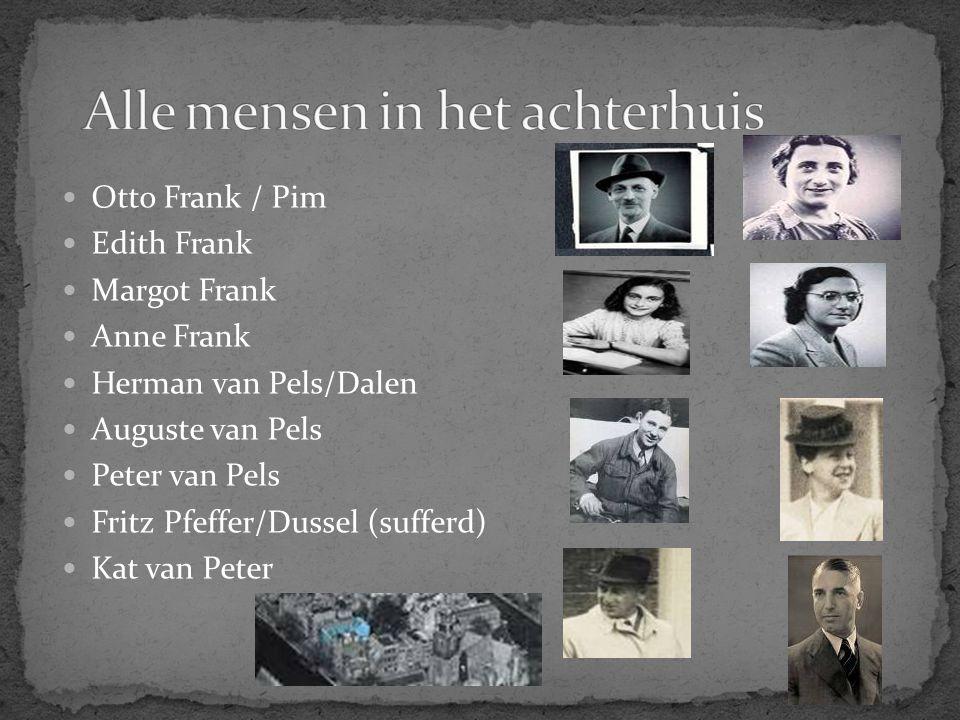 Otto Frank / Pim Edith Frank Margot Frank Anne Frank Herman van Pels/Dalen Auguste van Pels Peter van Pels Fritz Pfeffer/Dussel (sufferd) Kat van Pete