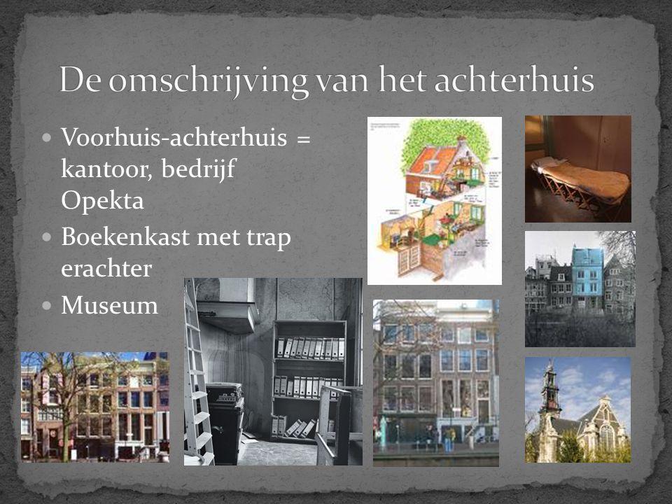Voorhuis-achterhuis = kantoor, bedrijf Opekta Boekenkast met trap erachter Museum